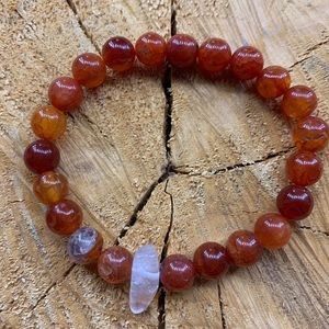 Dyed Fire Agate + Clear Quartz Bracelet